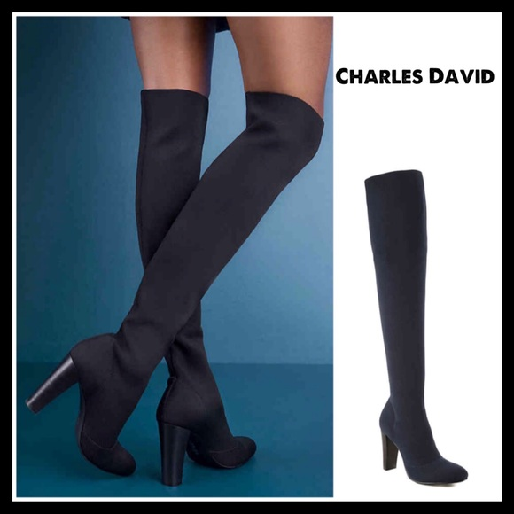 79fedac6a59 ❤️SIZE 7.5 CHARLES DAVID OVER THE KNEE BOOTS NAVY